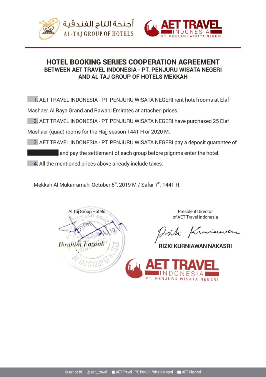 kontrak hotel